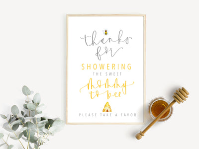 BEE Party Favor Sign | BABY SHOWER | Mommy to Bee | Honey Bee Party | Party Favors | Instant Download | Yellow | Digital Print | Beehive