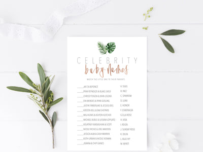 TROPICAL GOLD Baby Shower GAMES | Celebrity Baby Names | Baby Predictions | Tropical baby shower| Modern Calligraphy | Maternity | 2 games
