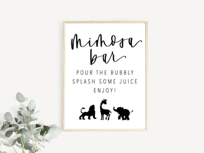 ZOO | MIMOSA BAR | Drink Sign | Modern Shower | Safari | Wild One | Baby Shower | Maternity | Mom to Be | First Birthday | Bar Sign | B&W