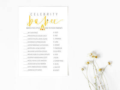 BEE | Baby PREDICTIONS & CELEBRITY baby Names | Baby Shower Game | Honey Bee Baby shower| 2 Pack | Instant Download | Baby bee Sprinkle