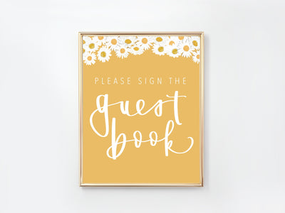 DAISY | GUEST BOOK sign | wedding | First Beeday | One is sweet |  Digital Download | Daisy Party | baby shower | sprinkle | bridal shower