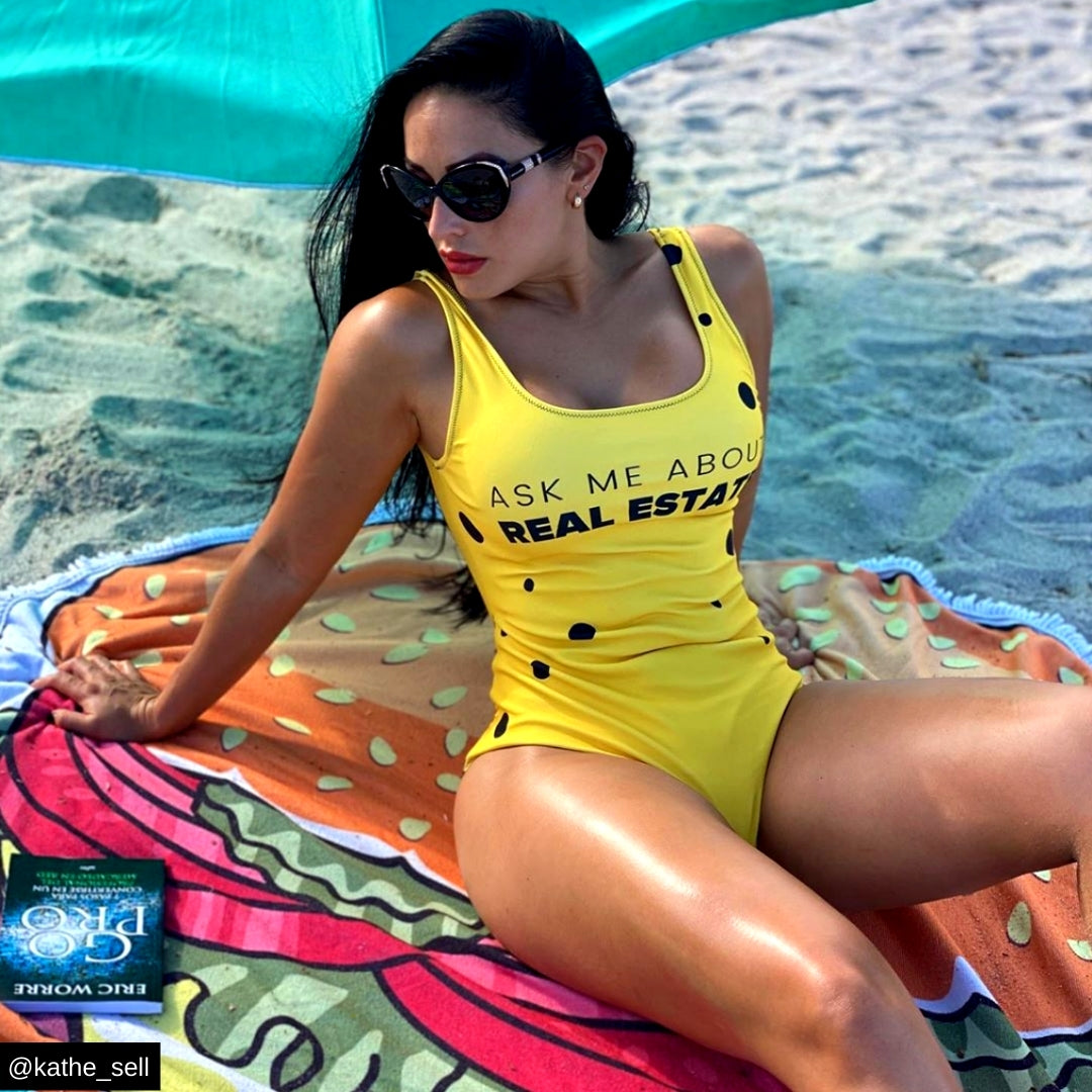 Yellow Ask Me About Real Estate One-Piece Swimsuit