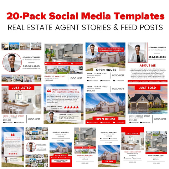 Red Elevated Agent Social Media Template 20-Pack