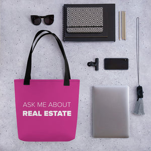Ask Me About Real Estate Pink Tote bag