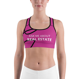 Ask Me About Real Estate Pink Sports bra