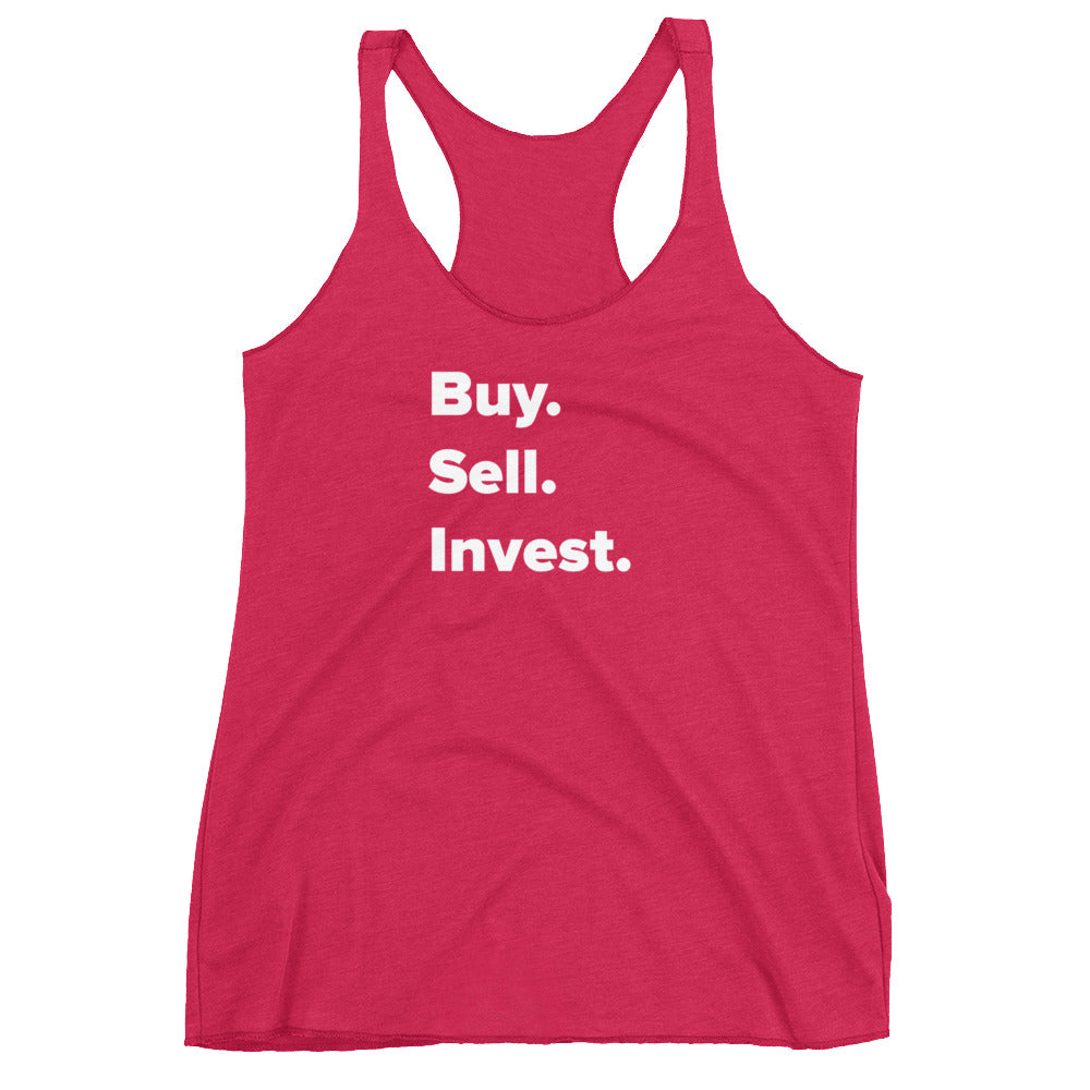 Buy. Sell. Invest. Women's Racerback Tank