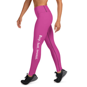 Pink Buy. Sell. Invest. High Waist Yoga Leggings