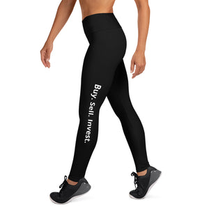 Black Buy. Sell. Invest. High Waist Yoga Leggings