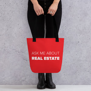 Ask Me About Real Estate Red Tote bag