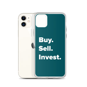 Buy. Sell. Invest. Dark Blue iPhone Case