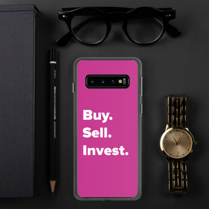 Pink Buy. Sell. Invest. Real Estate Samsung Phone Case