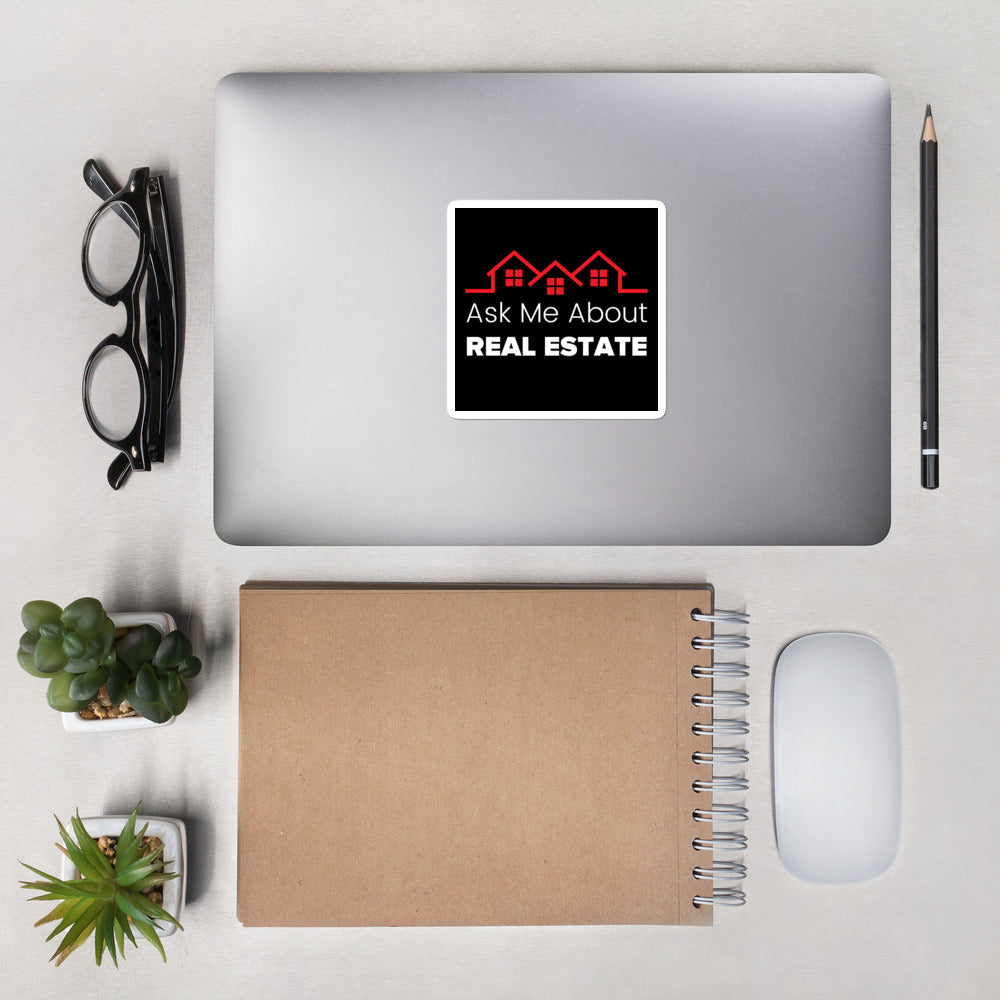 Black Ask Me About Real Estate Decal