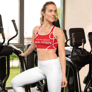 Ask Me About Real Estate Red/White Sports bra