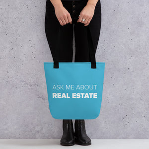 Ask Me About Real Estate Teal Tote bag