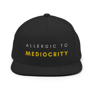 Allergic To Mediocrity Yellow Snapback Hat