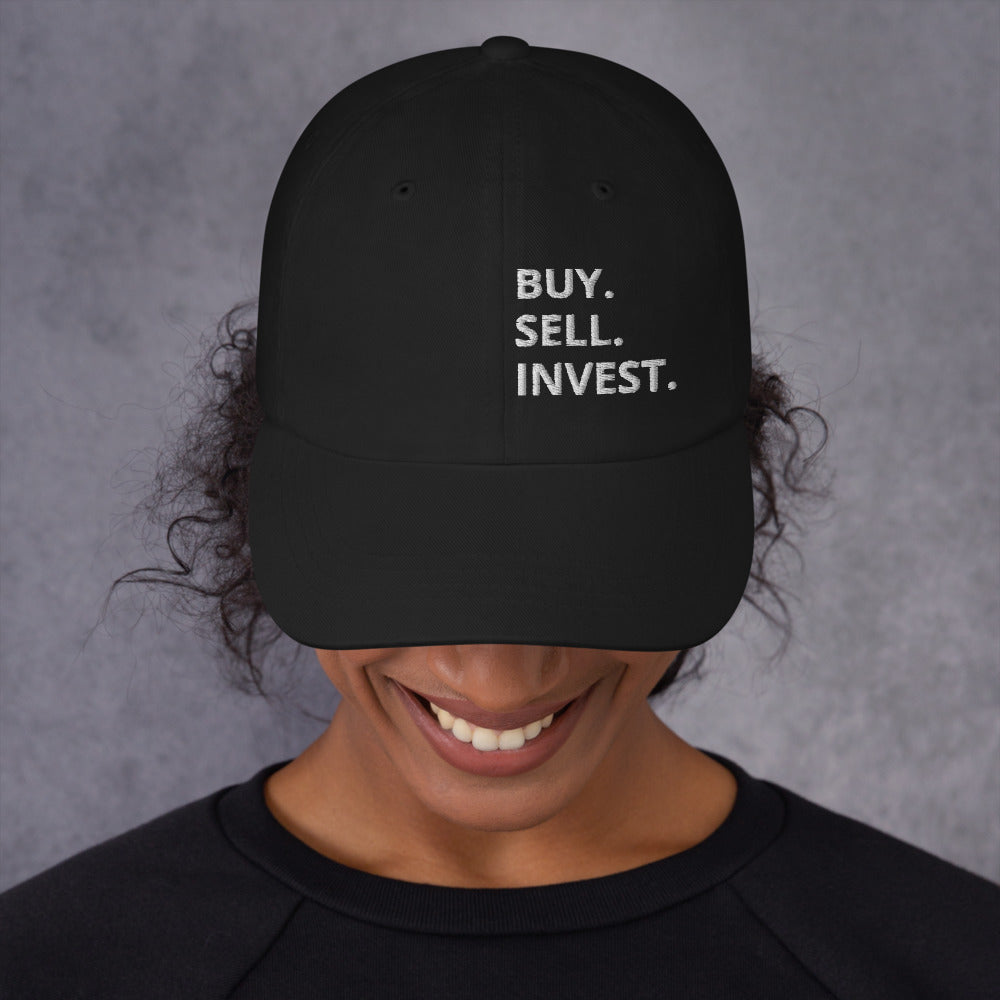 Buy. Sell. Invest. Vertical Dad Hat