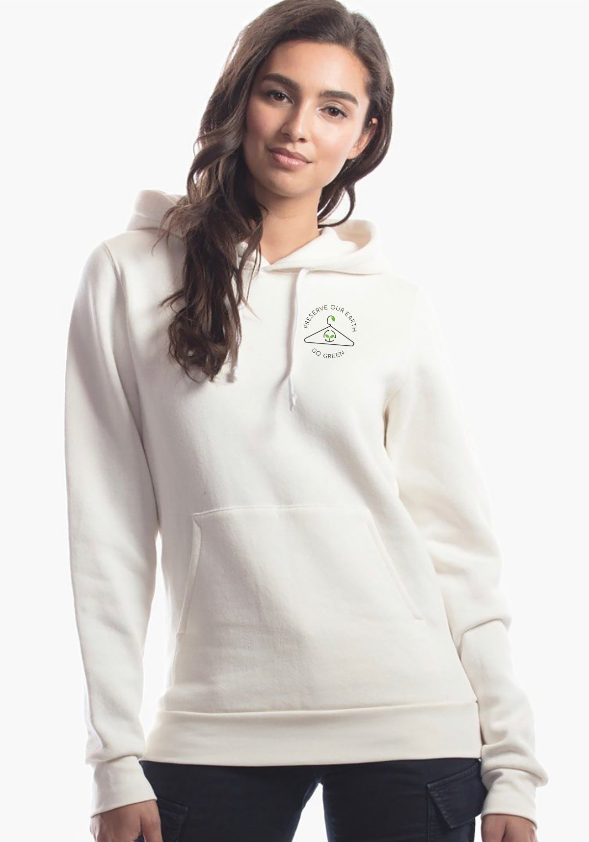 Go Green Cream Hoodie Ladies