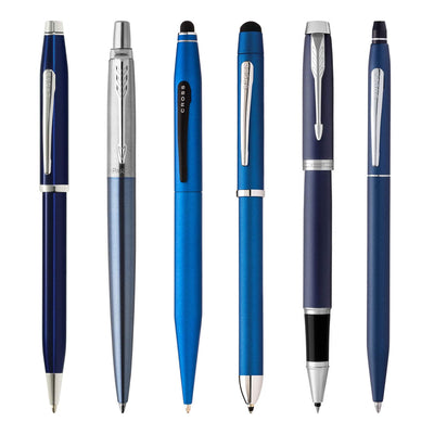 Premium Blue Pens and Blue Pen Sets - Free Personalized Engraving