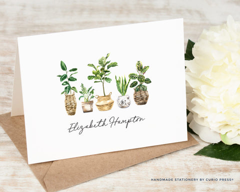 Notecard with houseplants and custom name printed on it