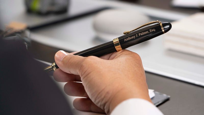 Dayspring Pens Black Arizona Fountain Pen with personalized lawyer's engraving