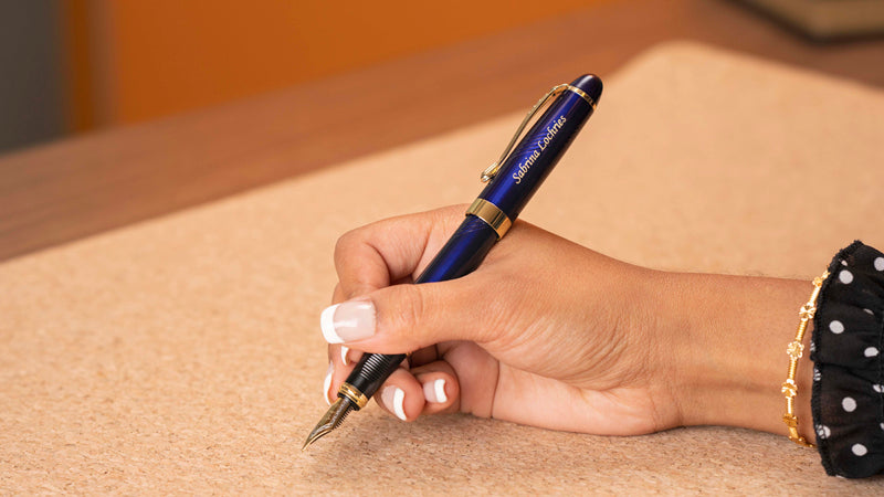 Dayspring Pens Blue Arizona Fountain Pen with personalized engraving