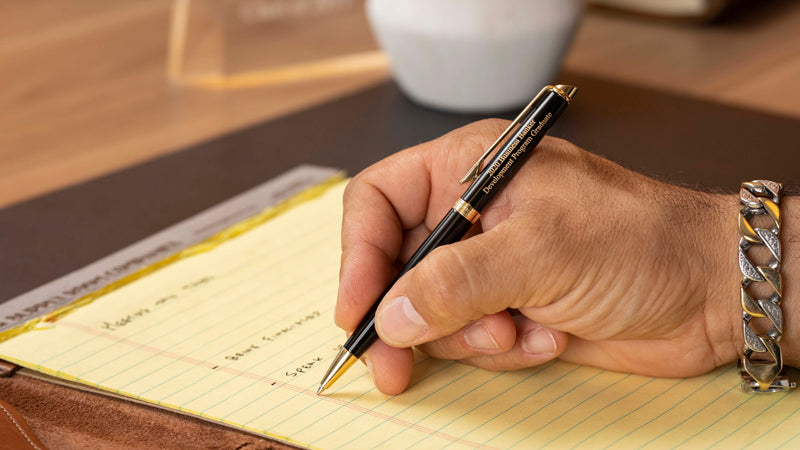 Waterman Hemisphere Black Ballpoint Pen with two lines of personalized engraving