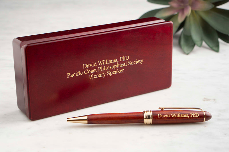 Dayspring Pens Wood Laser Pen with Wood Box and three lines of personalized engraving