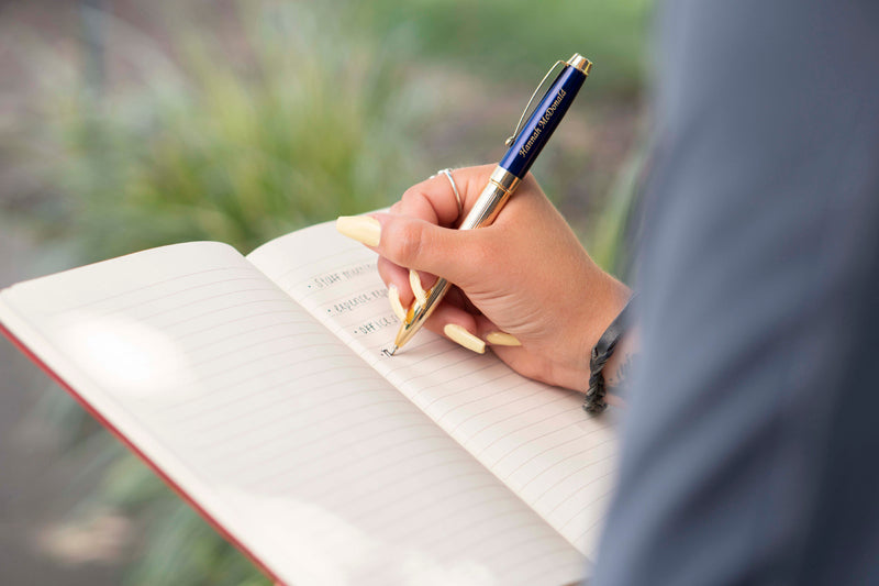 Personalized Braxton blue ballpoint pen with journal paper