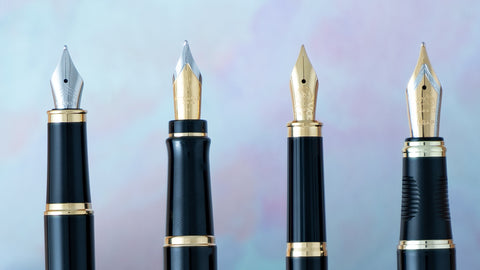 Various fountain pen nibs gold and stainless steel