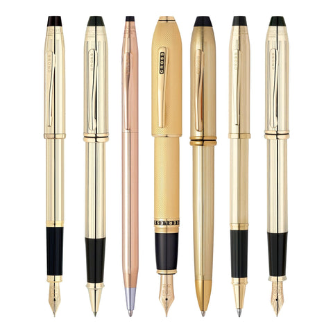 Cross gold pens with different writing styles