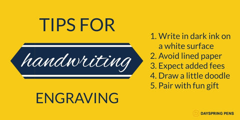 Tips for handwriting engraving info graphic