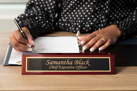Rosewood Desk Name Plate with Business Card.jpg