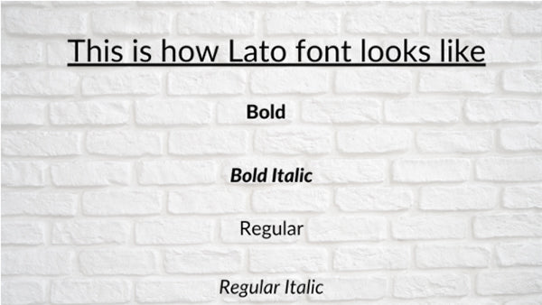 Exhibit of how the Lato font looks like in its different forms