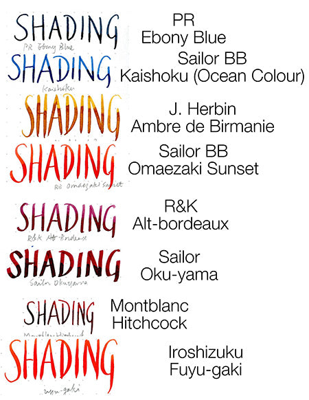 A swatch showing the shading effect of different ink brands