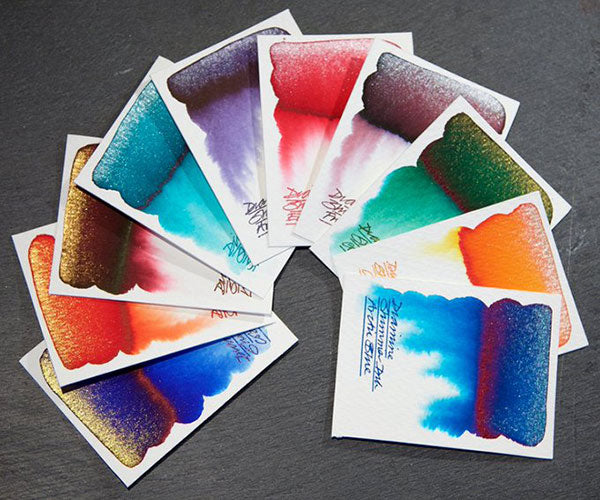 Different colored Diamine shimmer ink swatches