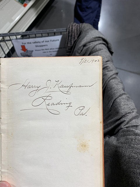 1903 handwriting discovered in store
