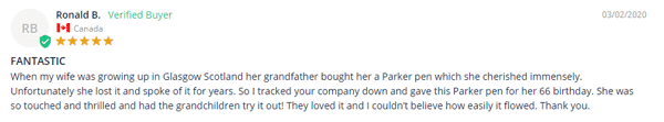 parker pen customer review