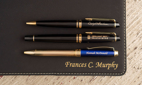 personalized Waterman pens and Dayspring pens on laser engraved journal