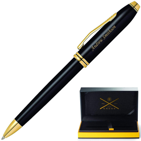Cross Townsend Black Lacquer Ballpoint Pen with Gold Plated Trim