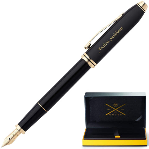 engraved Cross Townsend Black Gold Fountain Pen with pen case