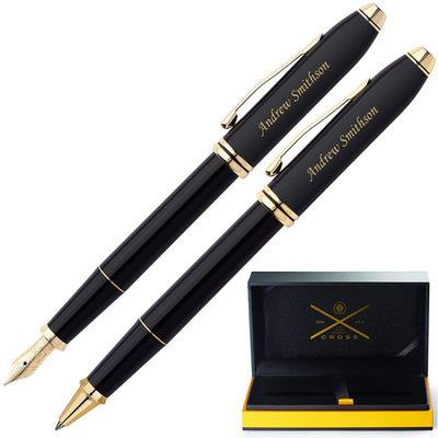 Cross Townsend Black Lacquer Rollerball and Fountain Pen Set GP-1284  | 576-MD, 575