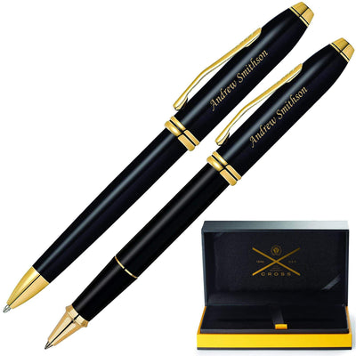 Cross Townsend Black with Gold Trim Ballpoint and Rollerball Pen Set GP-1283  | AT0042TW-4, 575
