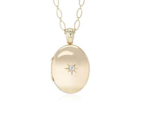 Long Oval Locket with Diamond Accent in 14k Yellow Gold
