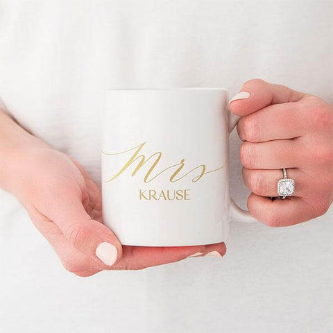 customised white mug with mrs written on the mug is gold foil print