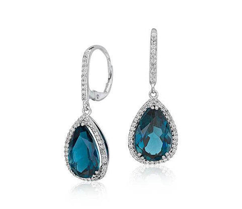 London Blue Topaz Elegant Halo Drop Earrings