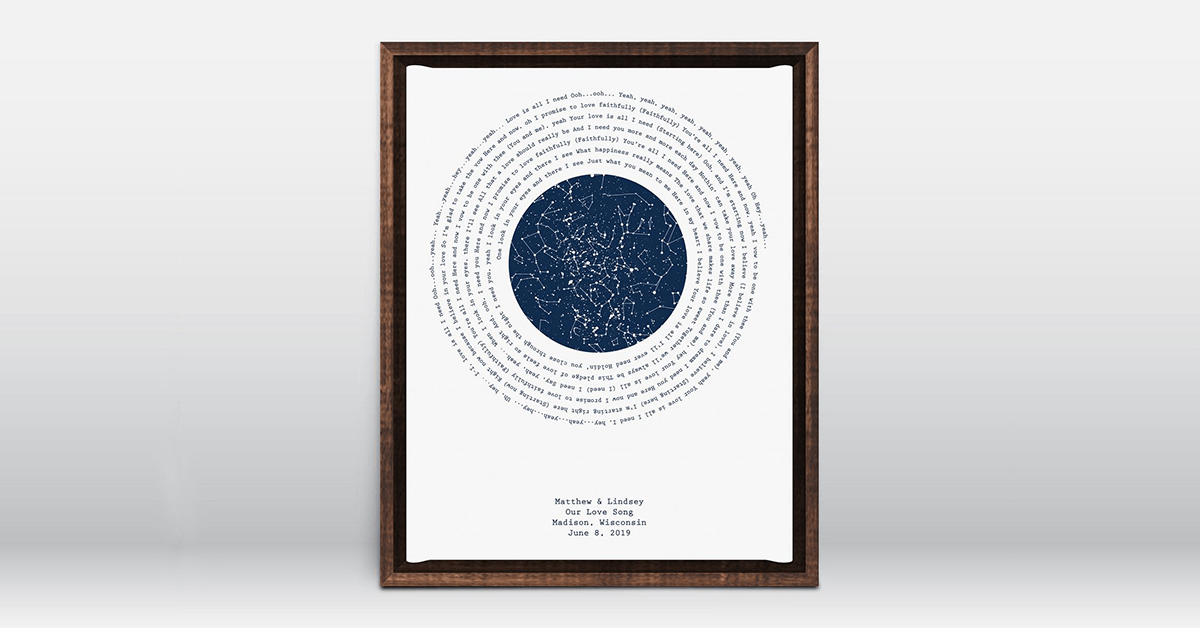 Black frame white print with star map surrounded by song lyrics