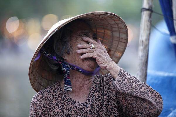 old asian lady happy and smiling