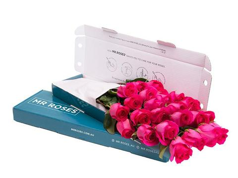 bright pink medium stem roses in a gift box