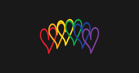 colourful rainbow hearts with black background