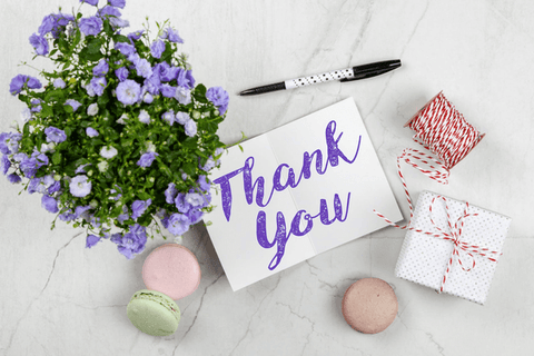 thank you note in calligraphy style
